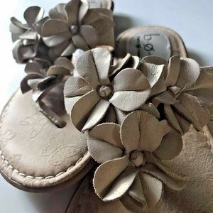 B.O.C. Born BOC Womens Floral Flat Sandals Ivory 8